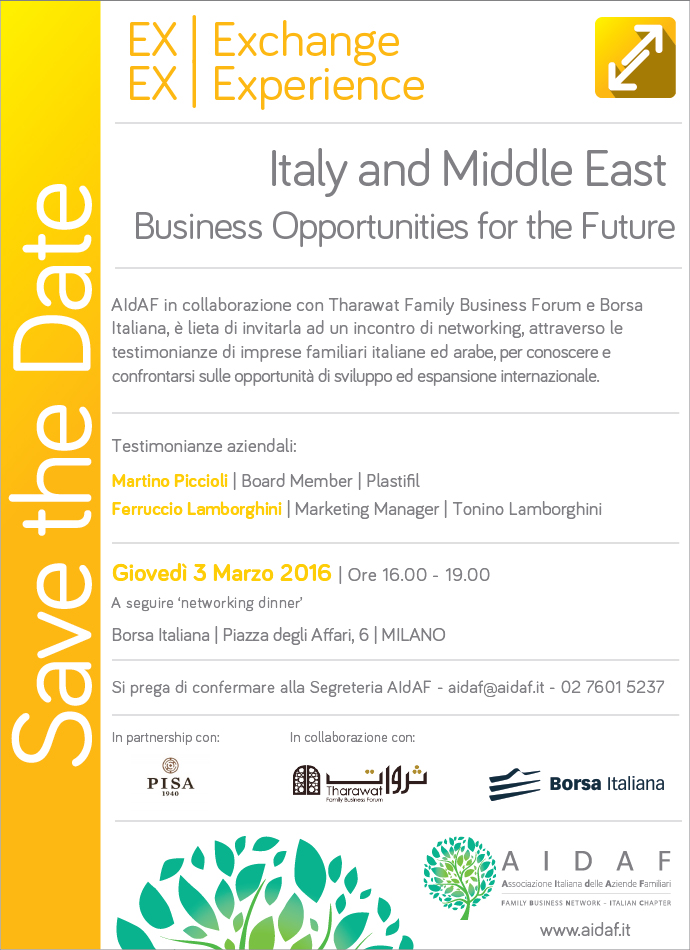 Italy and Middle East. Business Opportunities for the Future